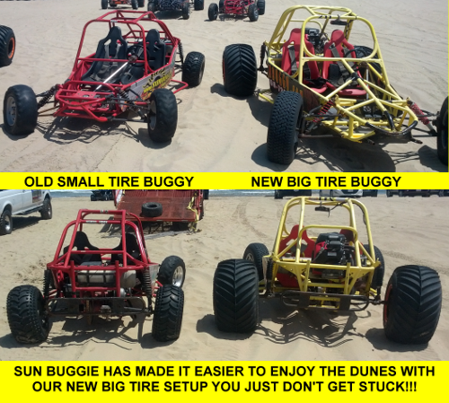 Old Small Tire style buggy versus new BIG tire style buggy - climb any dune with ease!
